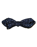 Navy Blue Silk London Spot Hand Tied Bow Tie by Peckham Rye