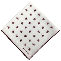 Maroon & White Silk Handkerchief Pocket Square. Skull & Crossbones Design by Peckham Rye