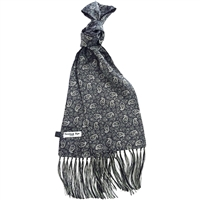 Silk Black Kestrels Nest Pattern Scarf by Peckham Rye