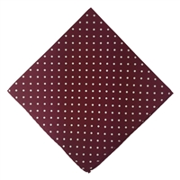Maroon & White Polka Dot Silk Pocket Handkerchief Square by Peckham Rye