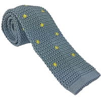 Knitted Silk Pale Silver Blue & Yellow Spot Tie by Peckham Rye
