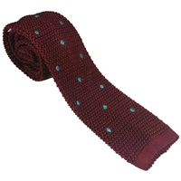 Knitted Silk Rich Burgundy and Teal Polkadot Tie by Peckham Rye