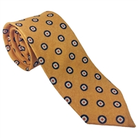 100% Wool Tie by Peckham Rye. Mustard Yellow with Geometric Detail