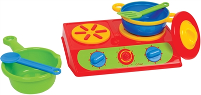 Toy stove cooking set
