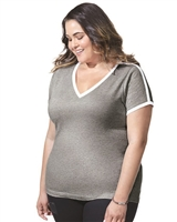 Curvy V-Neck Collegiate I Jersey Style T-Shirt