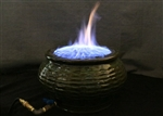 Blue color flame in the fireplace
