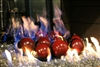 4 inch Dark Red on black porcelain coated Fire balls