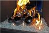 6 inch black on silver high fire Terracotta fireball