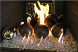 6 inch Matte Black, high fire Terracotta fireball
