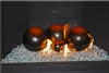 Orange and Dark Brown high fire terracotta Fireball