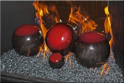 Red and Dark Brown high fire terracotta Fireball