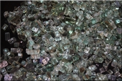 Light green metallic pyrite fireglass