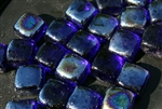 Deep blue square shaped fire crystals
