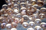 Round Peach colored Pearlized drop fire crystals