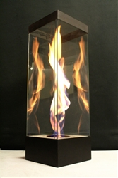 Steel Vortexed55 swirling fire in glass feature