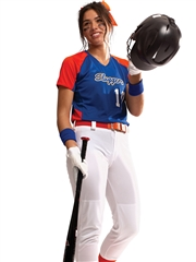 "Womens/Girls ""Smooth Performance Cutter"" V-Neck Softball Uniform Set With Pants A1522-1523SOF-SETP"