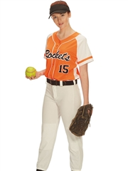 "Womens/Girls ""Eclipse"" Moisture Control Faux Button Front Softball Uniform Set With Pants A1665-1666SOF-SETP"