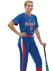 "Womens/Girls ""Hook Slide"" Two-Button Softball Uniform Set With Pants A1670-1671SOF-SETP"