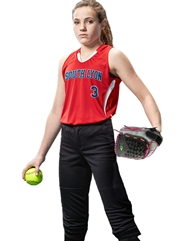 "Womens/Girls ""Vibrant"" Sleeveless Racerback Softball Uniform Set With Pants CBS30W-BS30GSOF-SETP"
