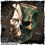 Ace Metal Works Ring: Ace Reveal Skull Large - Copper Patina