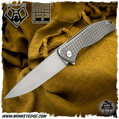 Shirogorov Knives Model 95 Flipper - Monkey Edge FRAG Pattern Natural Tumbled