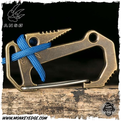 Anso Knives Carabiner V.6 Parabiner Rope Brake - Brass Numbered