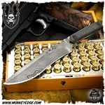 Mick Strider Custom One-Of Dagger Grind Recurve Damascus/Carbon Fiber (Texas Days)