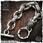 Starlingear Bracelet: Hot Head w/Flame and Anchor Link - Silver