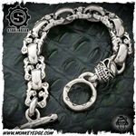 Starlingear Bracelet: Slickster w/Face Off and Flat Links - Silver