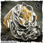 Starlingear Ring: Hog - Stainless w/24k Gold Takeuchi Engraved