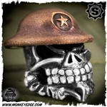 Starlingear Bead: Slickster Doughboy - Silver/Copper Textured w/Star Stamp