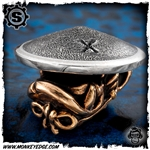 Starlingear Bead: Monkey Samurai - Copper/Silver Textured + X Stamped