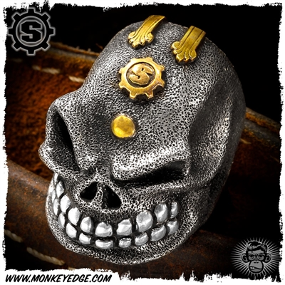 Starlingear Ring: The Boss Puncher Silver Textured - Vintage Brass Custom Ryk Personal Collection