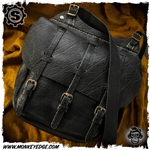 Starlingear Leather Cavalry Bag Satchel - Black Textured