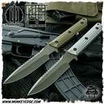 Strider Knives Fixed: MT Monkey Edge FRAG Pattern w/Spine Serrations Cerakote Green