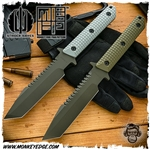 Strider Knives Fixed: BT Monkey Edge FRAG Pattern w/Spine Serrations Cerakote Green