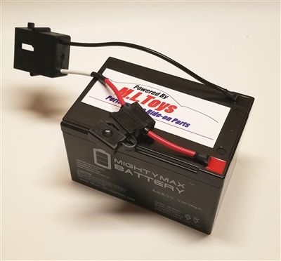 12 Volt Extended Run Time Battery w/ Black Power Wheels 12v Connector