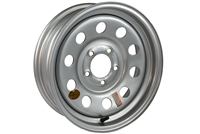 "15"" Silver Steel Modular Trailer Wheel 5-lug on 4.5"""