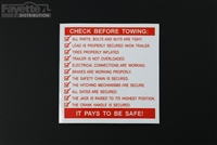 Check Before Towing Sticker