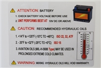 KTI Battery and Oil Temp Warning Sticker