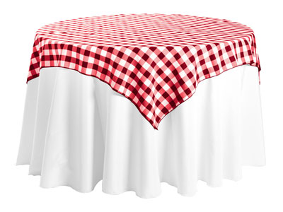 "Polyester Check Tablecloth 54"" x 54"" Square - 10/pack"