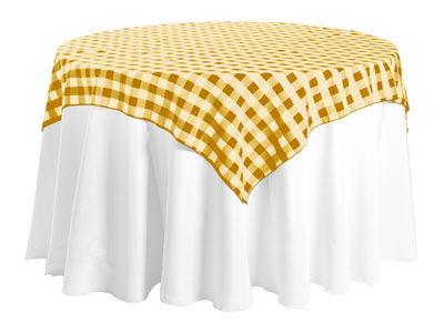 "Polyester Check Tablecloth 72"" x 72"" Square - 10/pack"