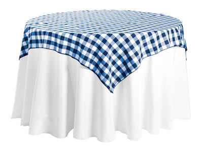 "Polyester Check Tablecloth 84"" x 84"" Square - 10/pack"