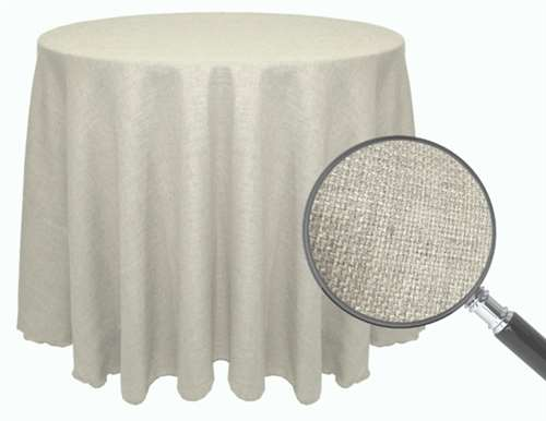 Faux burlap 120 round tablecloth for 120 table cloth rental