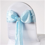 Crinkle Taffeta Chair Sash - Lt Blue