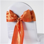 Crinkle Taffeta Chair Sash - Orange