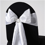 Crinkle Taffeta Chair Sash - White