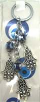 Three Hamza Hand Chain Evil Eye Nazar Key Chain