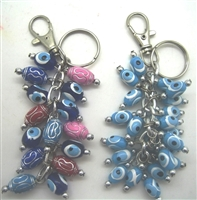Plastic Colored Evil Eye Key Chain - 4''