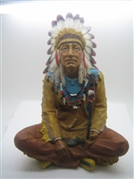 American Sitting Chief Indian with Pipe Medium